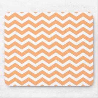 Peach White Chevron Pattern Mouse Pad