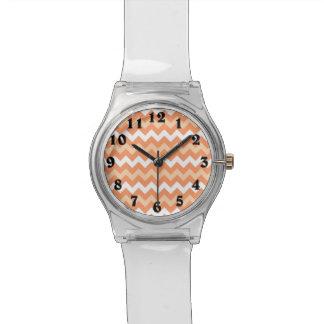 Peach white chevron pattern wrist watch