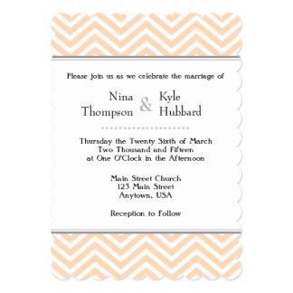 Peach White Chevron Wedding Invitation