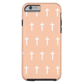 Peach White Crosses Tough iPhone 6 Case