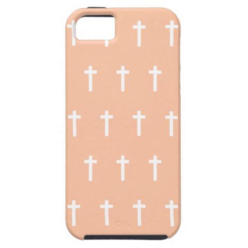 Peach White Crosses iPhone 5 Cover