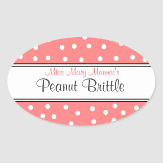 Peach & White Dots-Business Logo-Sweets Oval Sticker