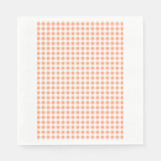 Peach White Gingham Pattern Napkin