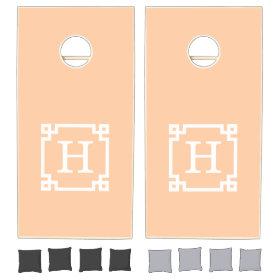 Peach White Greek Key Frame #2 Initial Monogram Cornhole Sets