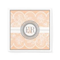 Peach, white lace pattern wedding paper napkin