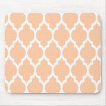 Peach White Moroccan Quatrefoil Pattern #4 Mousepads