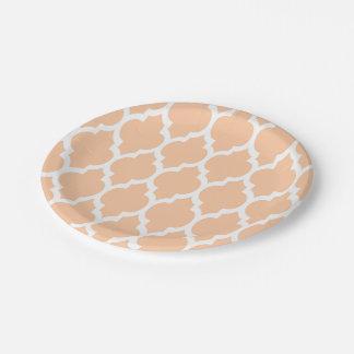 Peach White Moroccan Quatrefoil Pattern #4 7 Inch Paper Plate