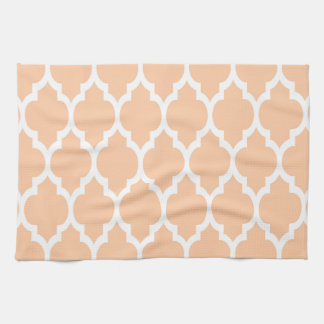 Peach White Moroccan Quatrefoil Pattern #4 Towel