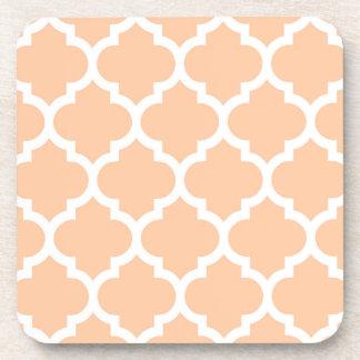 Peach White Moroccan Quatrefoil Pattern #5 Coaster