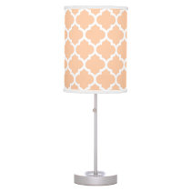 Peach White Moroccan Quatrefoil Pattern #5 Desk Lamp