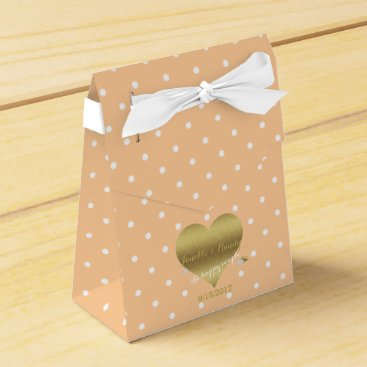 McTiffany Tiffany Aqua Peach & White Polka Dots Elegant Party Favor Boxes