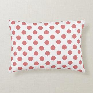 Peach White Polka Dots Pattern Accent Pillow
