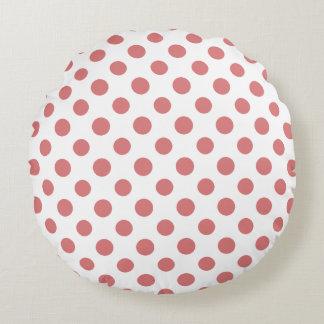 Peach White Polka Dots Pattern Round Pillow