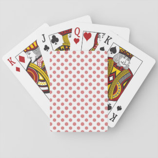Peach White Polka Dots Pattern Playing Cards