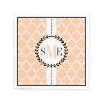 Peach, white quatrefoil pattern wedding paper napkin