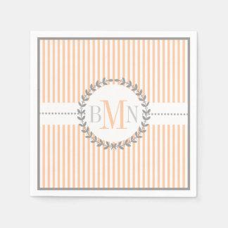 Peach, white striped pattern wedding paper napkin