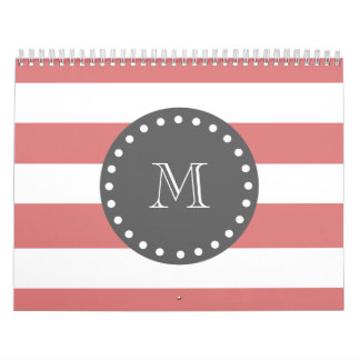 Peach White Stripes Pattern, Charcoal Monogram Calendar