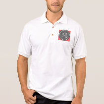 Peach White Stripes Pattern, Charcoal Monogram Polo Shirt