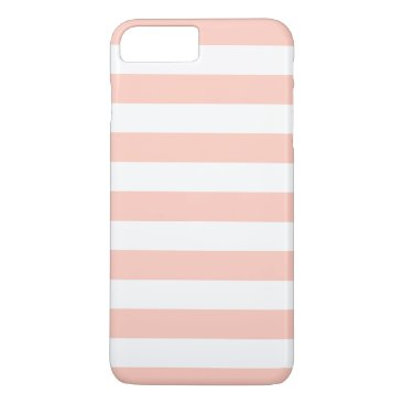 Beach Themed Peach White Stripes Pattern Girly iPhone 7 Plus Case