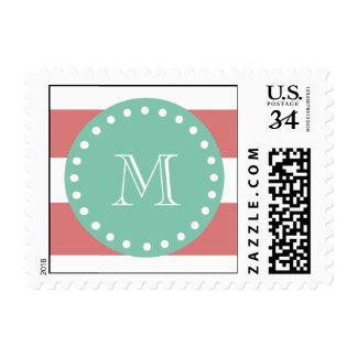 Peach White Stripes Pattern, Mint Green Monogram Postage Stamp