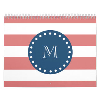 Peach White Stripes Pattern, Navy Blue Monogram Calendar