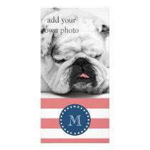 Peach White Stripes Pattern, Navy Blue Monogram Card