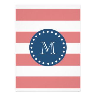 Peach White Stripes Pattern Navy Blue Monogram Invites