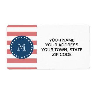 Peach White Stripes Pattern, Navy Blue Monogram Custom Shipping Label