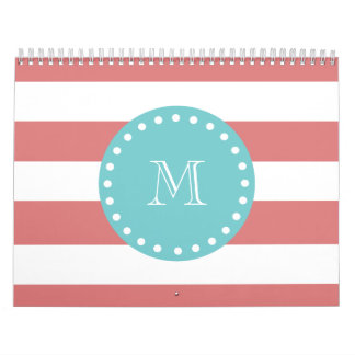 Peach White Stripes Pattern, Teal Monogram Calendar