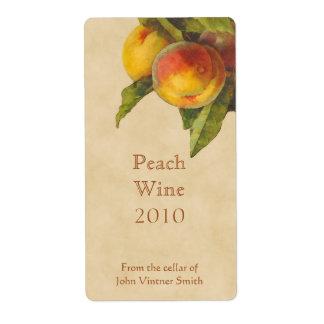 Peach wine bottle label