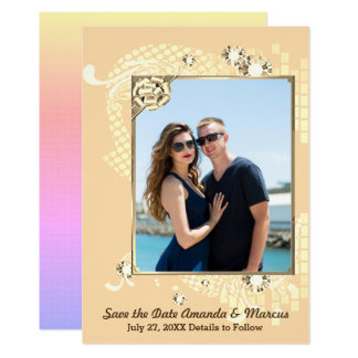Peach with Frame & Diamonds Image Save the Date Card