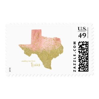 Peach With Gold Sending Love From Texas Postage