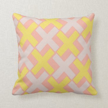 Aztec Themed Peach With Yellow Xs Throw Pillow