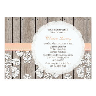 Peach Wood Lace Rustic Bridal Shower Invitations