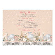 Peach Woodland Lamb Baby Shower Invitation Card