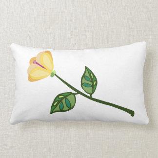 peach yellow long stem flower pillow