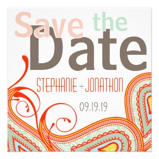 Peach Yellow Red Mint Photo Modern Save the Date
