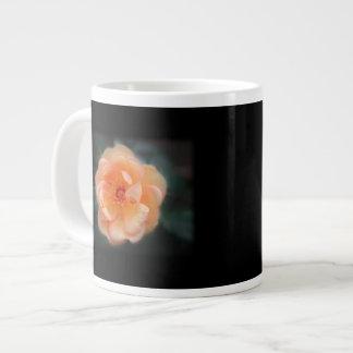 Peach - Yellow rose, on black. Large Coffee Mug