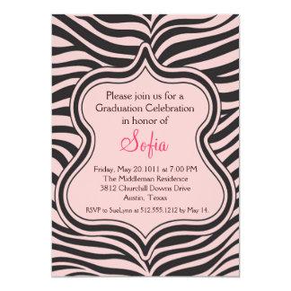 Peach Zebra Graduation Invitation Custom Color