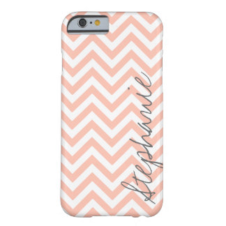 Peach Zigzag Chevron Pattern with Name Barely There iPhone 6 Case