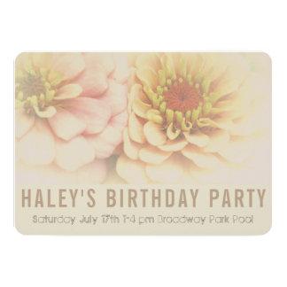 Peach Zinnia Birthday Invitation