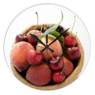 peaches and cherries clock