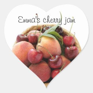 peaches and cherries jam stickers
