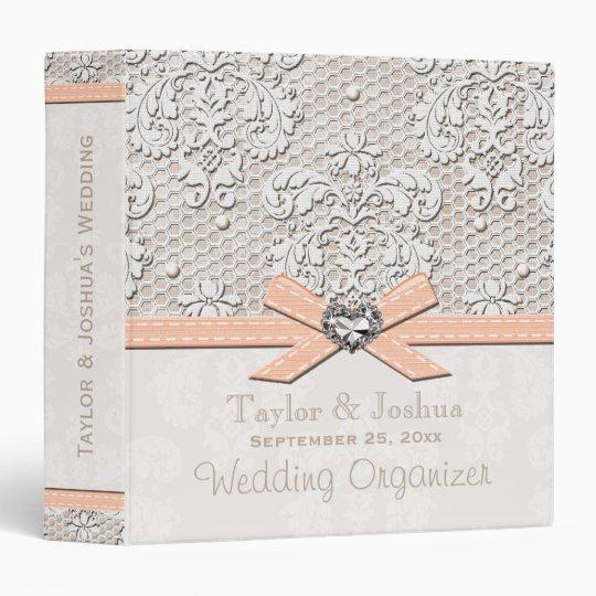 Peaches and Cream Antique Lace Wedding Organizer Binder