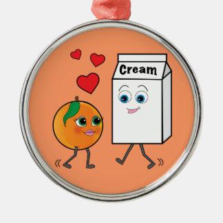 Peaches and Cream in Love Metal Ornament