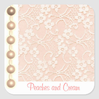 Peaches and Cream Lace and Pearls Seal Square Sticker