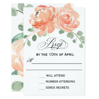Peaches and Cream Watercolor Floral RSVP Card