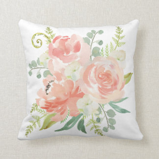 Peaches and Cream Watercolor Floral Throw Pillow