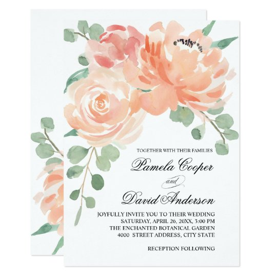 Peaches And Cream Watercolor Floral Wedding Card Zazzlecom