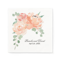 Peaches and Cream Watercolor Floral Wedding Napkin